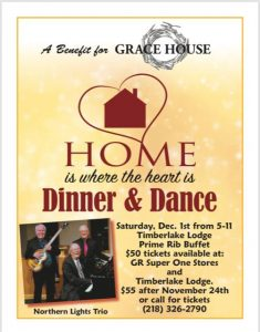 "Grace House's 13th Annual ""Home Is Where the Heart Is"" Dinner & Dance will be held Dec. 1 at Timberlake Lodge"