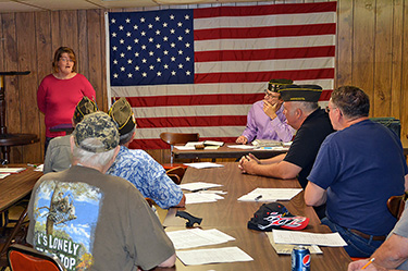 Nikki speaks at a local VFW board meeting about her time at Grace House.